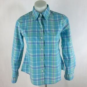 Foxcroft Wrinkle Free Shape Fit Plaid Blouse